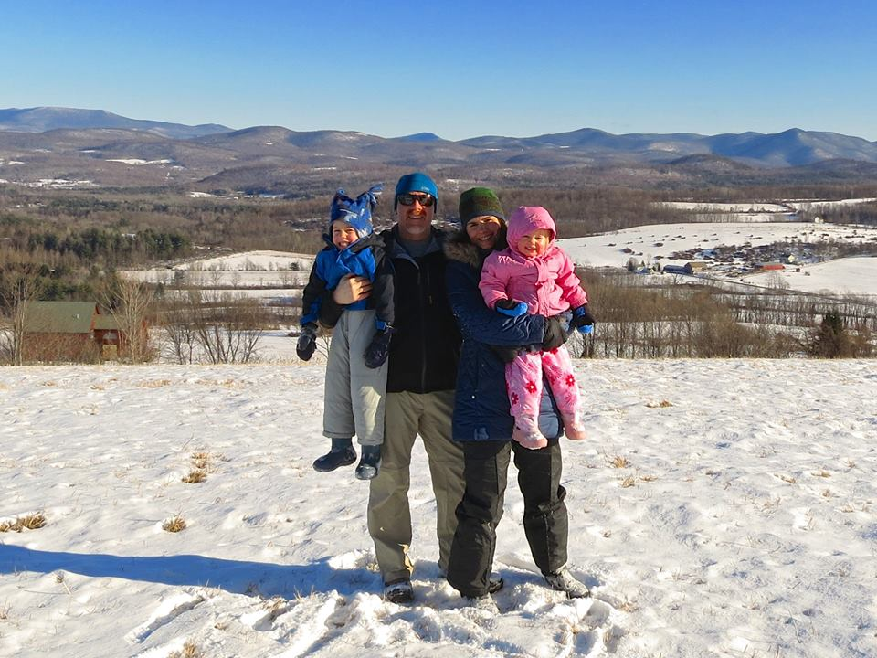 The family unit on top of the property. Winter 2015.